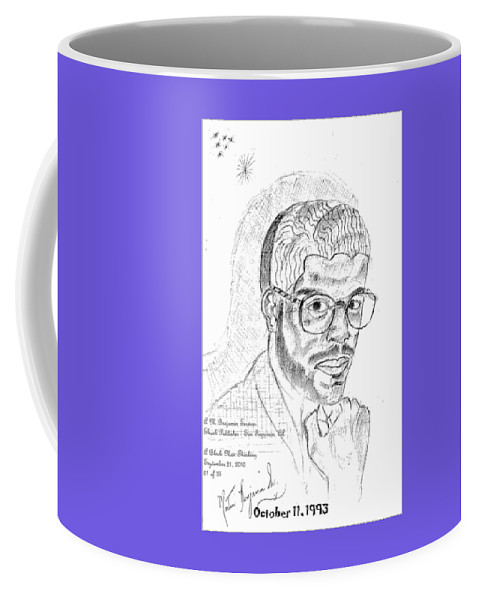 Drawing Of Black Man Face Coffee Mug featuring the digital art The Black Thinker by Anthony Benjamin