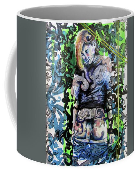 Blonde Boy Coffee Mug featuring the painting The Blond Bomber by Rene Capone