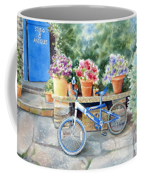Blue Bicycle Coffee Mug featuring the painting The Blue Bicycle by Deborah Ronglien