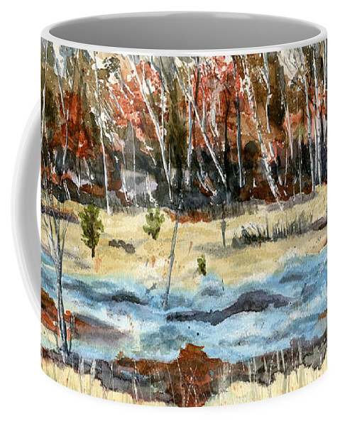 Landscape Coffee Mug featuring the painting The Blue Bog by Mary Tuomi