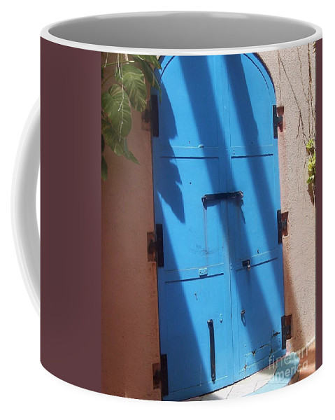 Architecture Coffee Mug featuring the photograph The Blue Door by Debbi Granruth