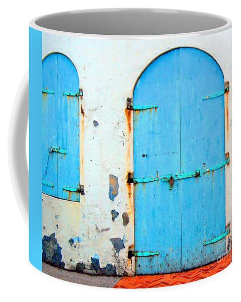 Door Coffee Mug featuring the photograph The Blue Door Shutters by Debbi Granruth
