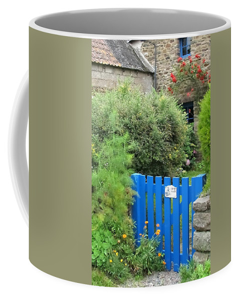 Gate Coffee Mug featuring the photograph The Blue Gate by Mary Ellen Mueller Legault