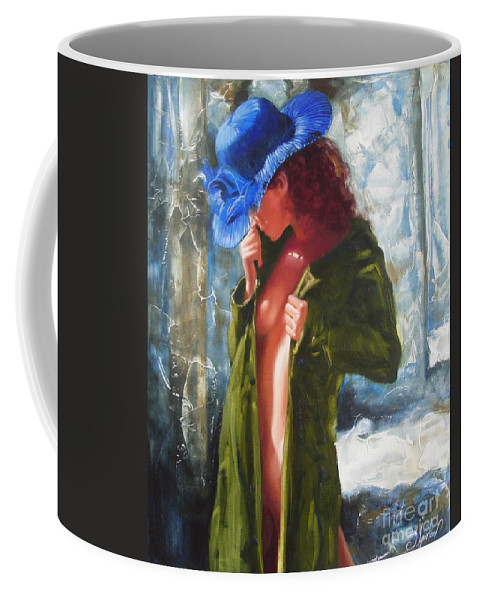 Art Coffee Mug featuring the painting The Blue Hat by Sergey Ignatenko