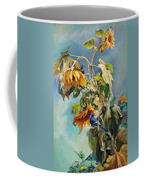 Sunflower Coffee Mug featuring the painting The Blue Jay Who Came To Breakfast by Svitozar Nenyuk