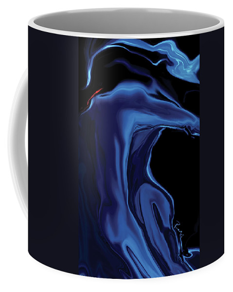 Abstract Coffee Mug featuring the digital art The Blue Kiss by Rabi Khan