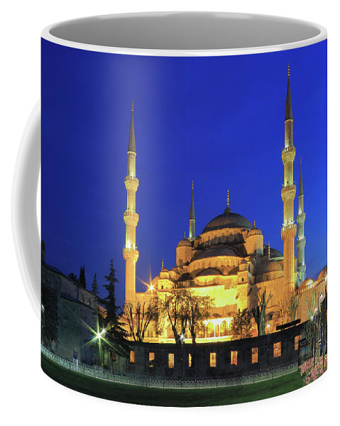 Architecture Coffee Mug featuring the photograph The Blue Mosque At Night Istanbul Turkey by Ivan Pendjakov