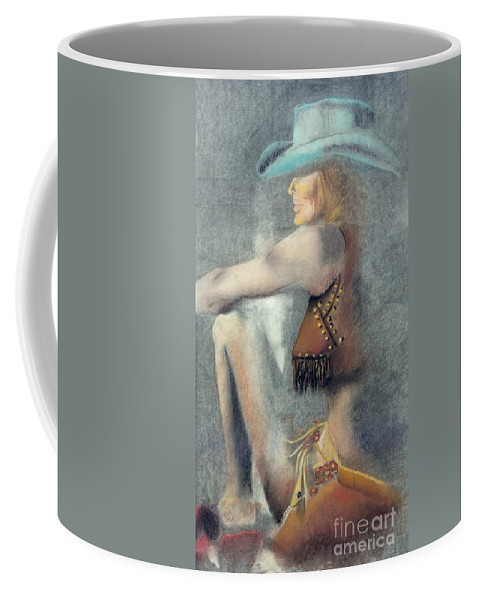 Cowgirls Coffee Mug featuring the drawing The Blue Stetson by Frances Marino