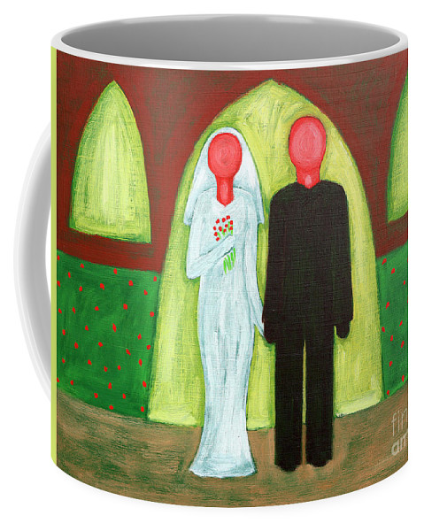 Wedding Coffee Mug featuring the painting The Blushing Bride And Groom by Patrick J Murphy