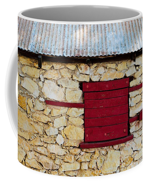 Boarded Coffee Mug featuring the photograph The Boarded Red Window by Gary Richards