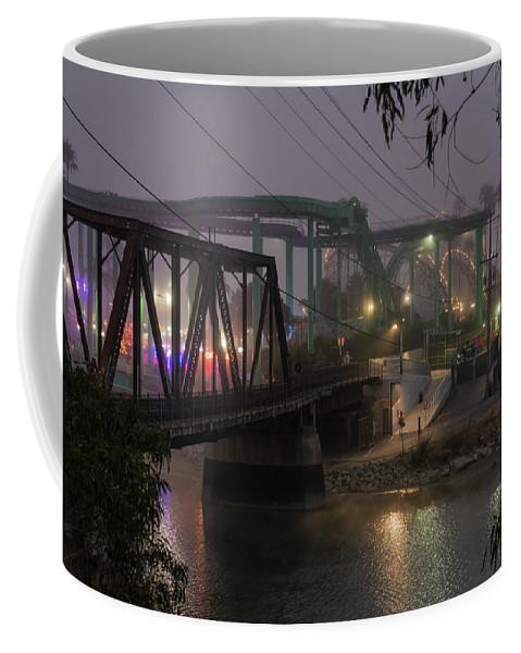 Fog Coffee Mug featuring the photograph The Boardwalk At Dusk by Bruce Frye