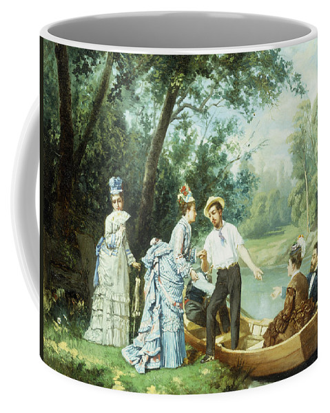 The Boating Party Coffee Mug featuring the painting The Boating Party by Antonio Garcia Mencia