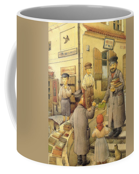 Books Old Town Children Coffee Mug featuring the painting The Bookman by Kestutis Kasparavicius