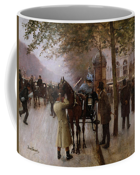 Traffic Coffee Mug featuring the painting The Boulevards by Jean Beraud