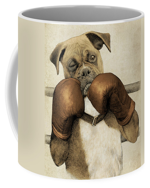 Boxer Coffee Mug featuring the drawing The Boxer by Eric Fan