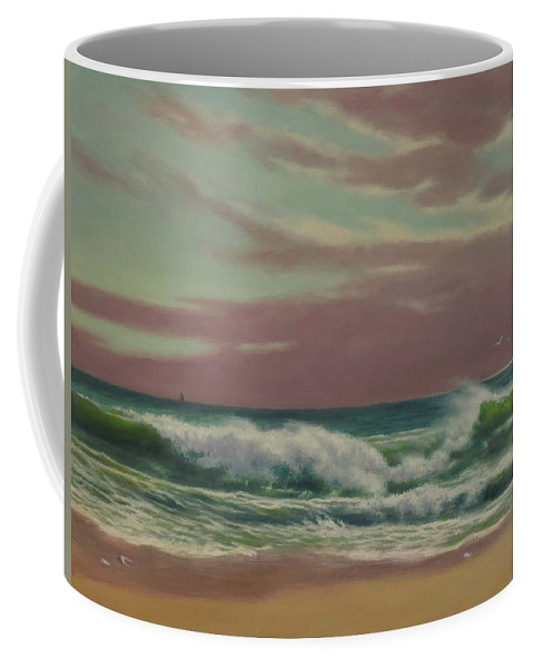 Seascape Coffee Mug featuring the painting The Breaker by Barry DeBaun