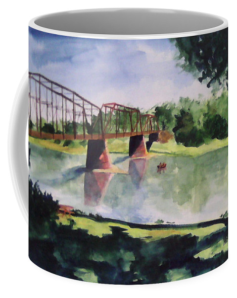 Bridge Coffee Mug featuring the painting The Bridge At Ft. Benton by Andrew Gillette