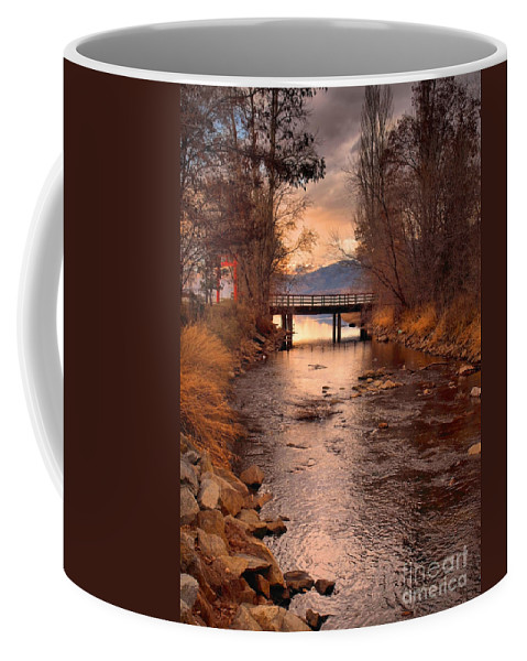 Bridge Coffee Mug featuring the photograph The Bridge By The Lake by Tara Turner