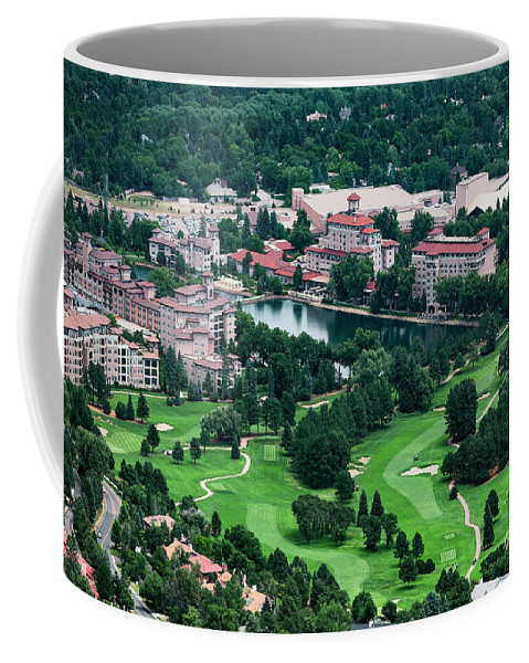 Aerial Coffee Mug featuring the photograph The Broadmoor Resort by John Greim
