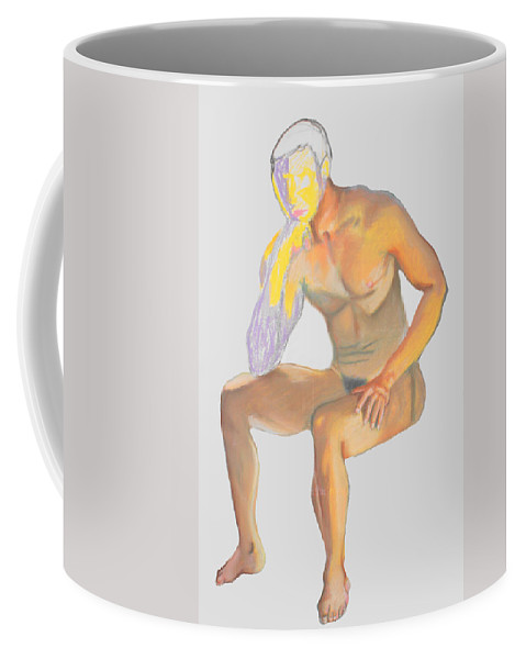 Man Coffee Mug featuring the pastel The Broken Man by Jean Haynes