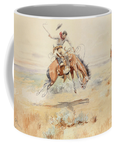 Bucking Coffee Mug featuring the painting The Bronco Buster by Charles Marion Russell