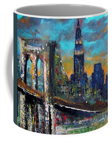 Bridges Coffee Mug featuring the painting The Brooklyn Bridge by Frances Marino