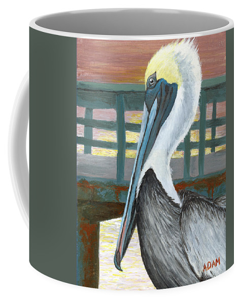 Pelican Coffee Mug featuring the painting The Brown Pelican by Adam Johnson