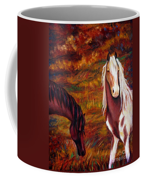 Horses Coffee Mug featuring the painting The Browns And The Paints by Georgia's Art Brush