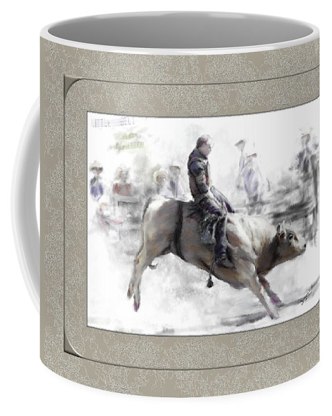 Bull Rider Coffee Mug featuring the painting The Bull Rider by Susan Kinney