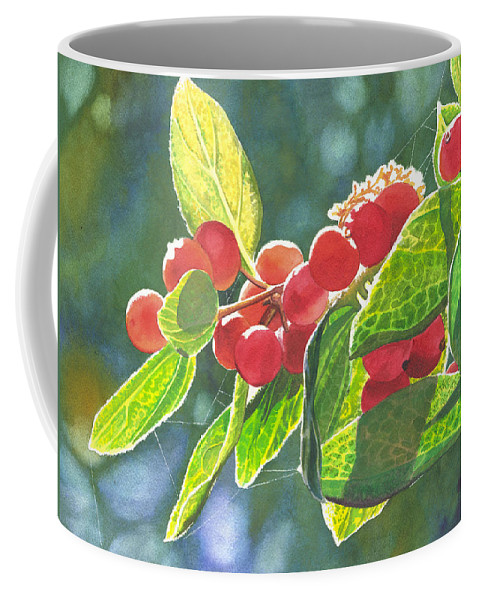 Berries Coffee Mug featuring the painting The Bush With The Red Berries by Catherine G McElroy