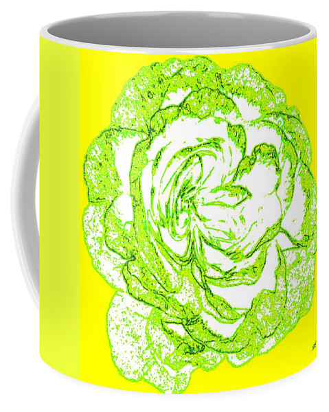 Abstract Coffee Mug featuring the digital art The Cabbage Rose by Will Borden