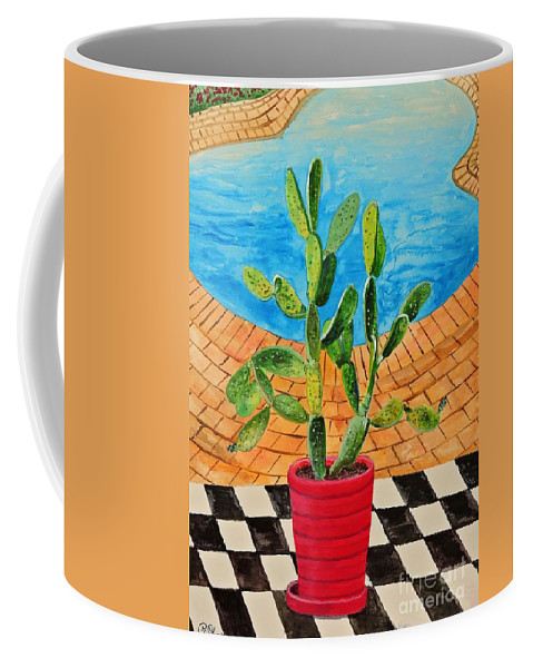 Succulents Coffee Mug featuring the painting The Cactus From Nigeria by Caroline Street