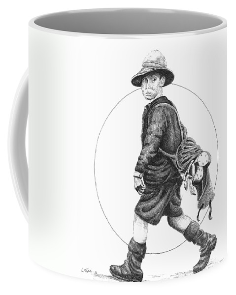 Golf Coffee Mug featuring the drawing The Caddy by Lawrence Tripoli