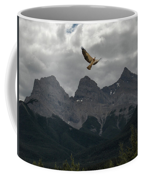 Hawk Mountains Trees Woods Banff Alberta Wild Bird Hunter Flying Three Sisters Coffee Mug featuring the photograph The Calling by Andrea Lawrence