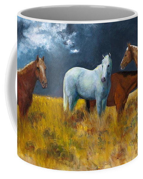 Horses Coffee Mug featuring the painting The Calm After The Storm by Frances Marino