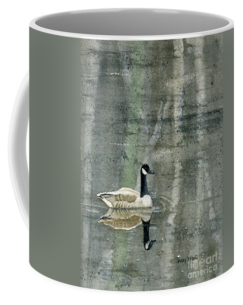 Canada Coffee Mug featuring the painting The Canadian Goose by Mary Tuomi