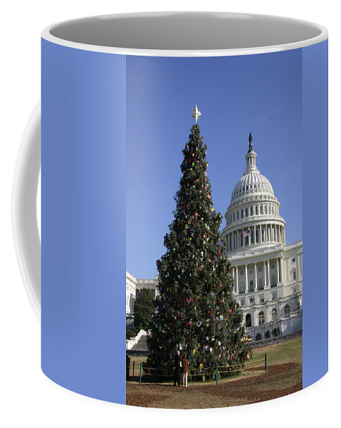 The Capitol District Of Columbia Coffee Mug featuring the photograph The Capitol Christmas Tree Is Decorated by Stephen St. John
