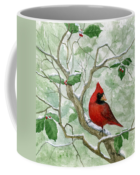 Cardinal Coffee Mug featuring the painting The Cardinal by Mary Tuomi