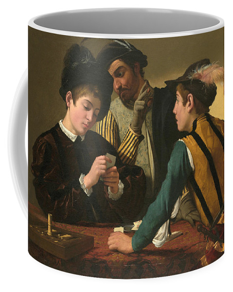 Caravaggio Coffee Mug featuring the painting The Cardsharps by Caravaggio