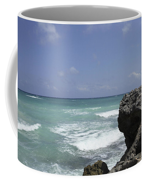 Tulum Coffee Mug featuring the photograph The Caribbean Sea Is Seen From A Rocky by Stephen Alvarez