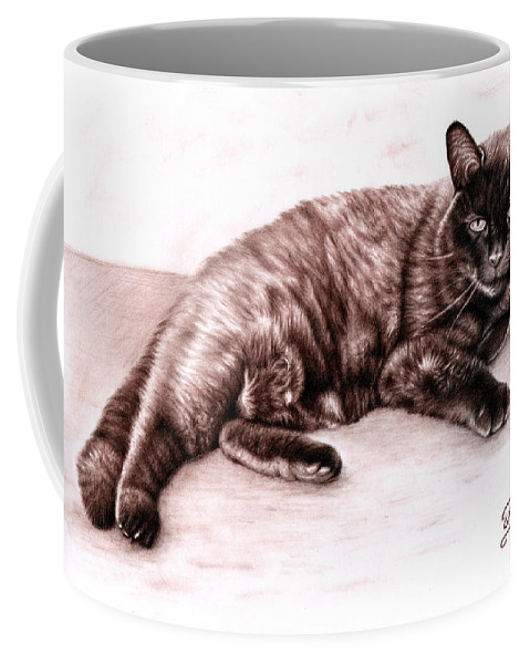 Cat Coffee Mug featuring the drawing The Cat by Nicole Zeug