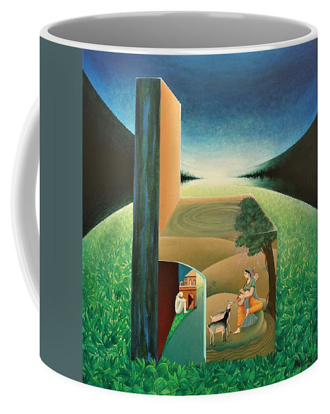 Romantic Coffee Mug featuring the painting The Chair - A by Raju Bose