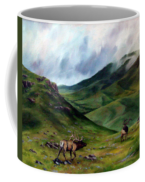 Elk Coffee Mug featuring the painting The Challenger by David Maynard