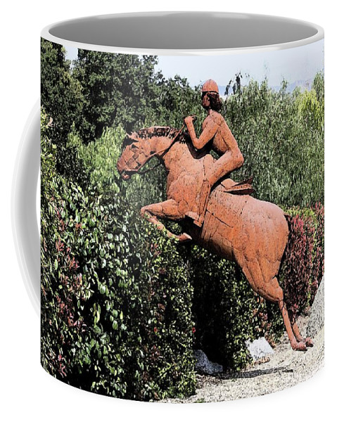 Horse Coffee Mug featuring the digital art The Chase by Tommy Anderson