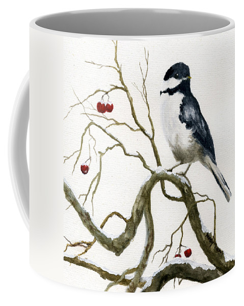 Birds Coffee Mug featuring the painting The Chickadee by Mary Tuomi