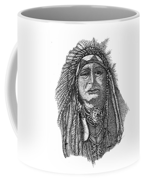 Indian Art Coffee Mug featuring the drawing The Chief by Jennifer Campbell Brewer