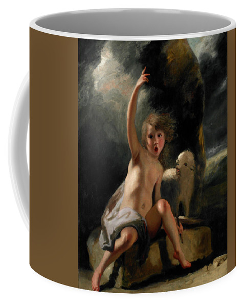 Sheep Coffee Mug featuring the painting The Child Baptist In The Wilderness by Sir Joshua Reynolds