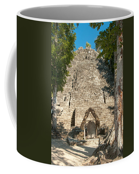Mexico Quintana Roo Coffee Mug featuring the digital art The Church At Grupo Coba At The Coba Ruins by Carol Ailles