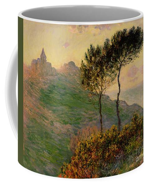 The Church At Varengeville Coffee Mug featuring the painting The Church At Varengeville Against The Sunlight by Claude Monet