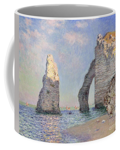 The Cliffs At Etretat Coffee Mug featuring the painting The Cliffs At Etretat by Claude Monet